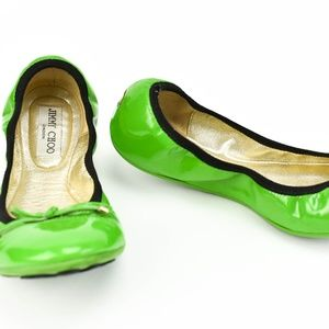 JIMMY CHOO: Shiny Green Leather & Logo Flats